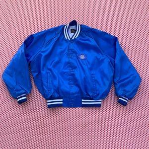 Vintage 70s Blue silk bomber style jacket